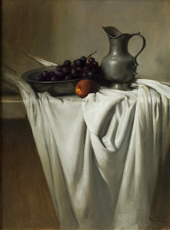 Grapes and Pewter Pitcher by Daniel Graves