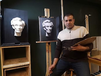 ABRAHAM LINCOLN  cast painting  by Ali Ghassan Al-Zobaede