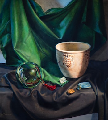 Still Life with Green Cloth by Linda Mann