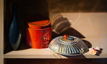 Silver Bowl & Orange Box by Linda Mann
