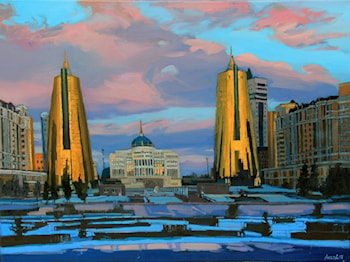 Landscape of Astana (Kazakhstan). Winter twilight by Anara Abzhanova
