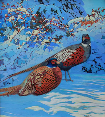 Winter morning with pheasants by Anara Abzhanova