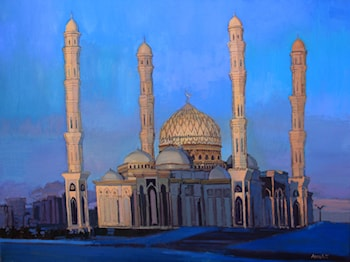 "City Landscape of Astana. Mosque ""Khazret Sultan"" at Sunset by Anara Abzhanova"