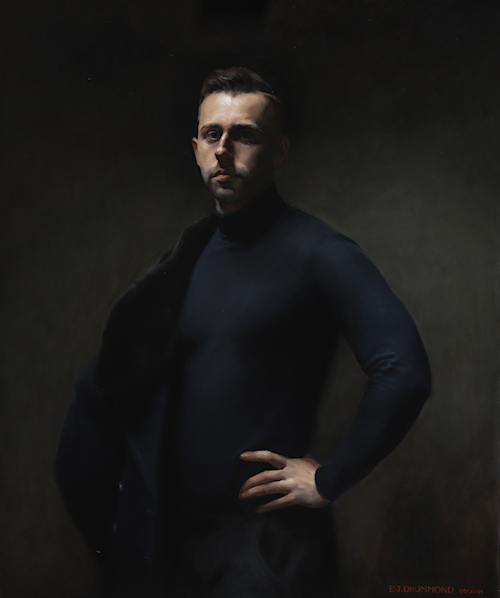 Self-Portrait in Navy Blue