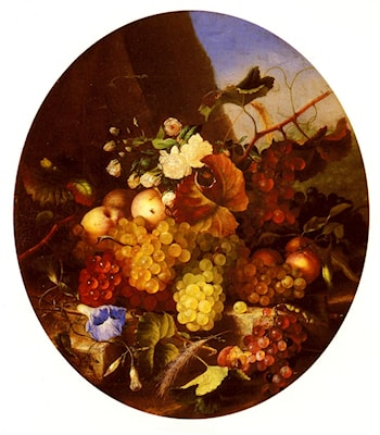 Still Life Of Fruit And Flowers by Adelheid Dietrich