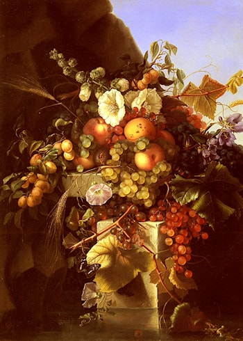 Still Life With Grapes, Peaches, Flowers And A Butterfly by Adelheid Dietrich