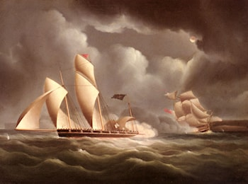A British Frigate Attacking A Pirate Lugger At Night by James E. Buttersworth