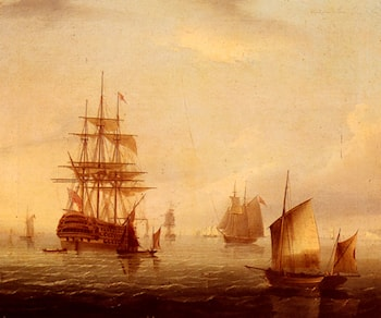 Sailing Vessels Off A Coastline by James E. Buttersworth
