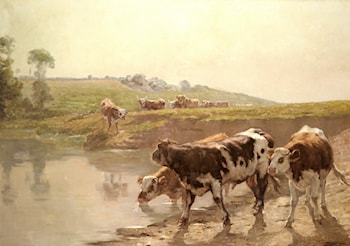 Cattle In A Pasture by Wenceslas Vacslav Brozik