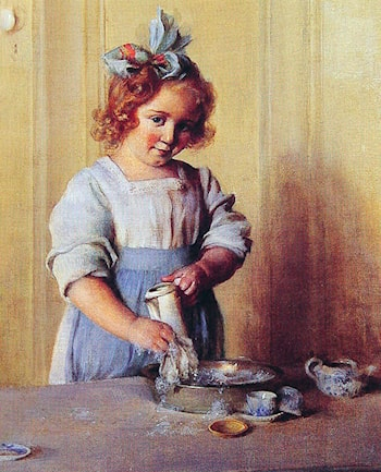 Washing Dishes: Emily and Her Tea Set by Charles Courtney Curran
