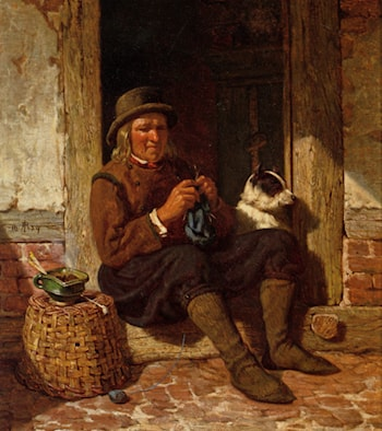A Man Seated in a Doorway Knitting with His Dog by Rudolf Jordan