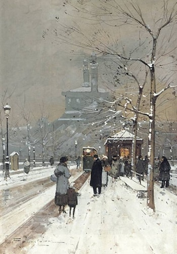 Figures in the Snow, Paris by Eugene Galien-Laloue