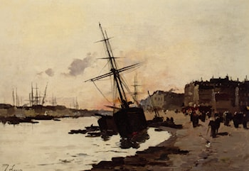 Ships in a Harbour by Eugene Galien-Laloue