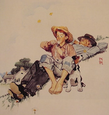 Grandpa and Me picking daisies by Norman Rockwell