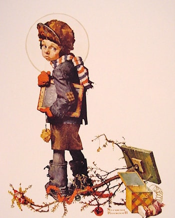 Little Boy holding Chalk Board by Norman Rockwell