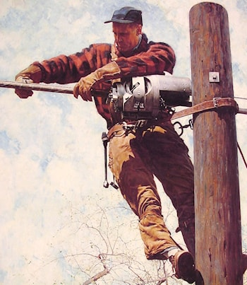 The Lineman by Norman Rockwell