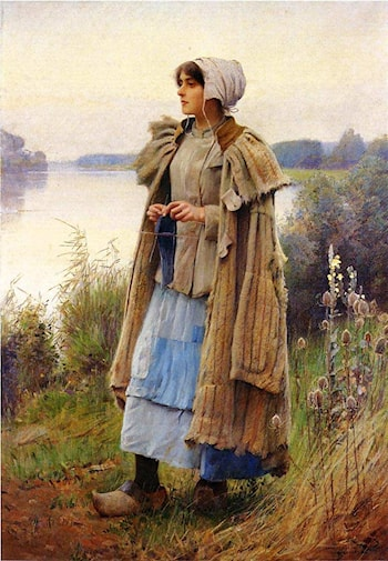 Knitting in the Fields by Charles Sprague Pearce