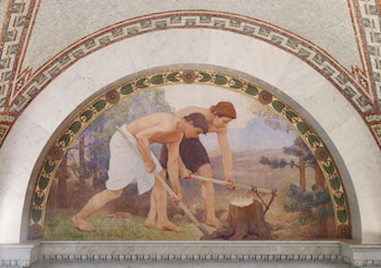 Labor mural in lunette from the Family and Education Series-Library of Congress Thomas Jefferson Building-Washington DC by Charles Sprague Pearce