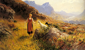 An Alpine Landscapewith a Shepherdess and Goats by Hans Dahl