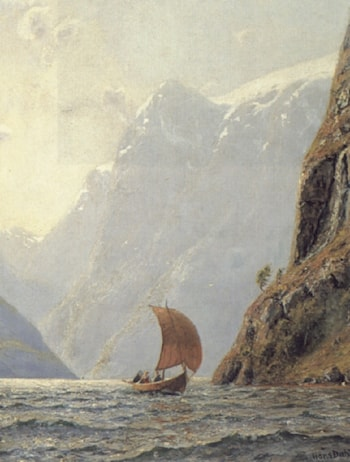 Sailing in a Fjord by Hans Dahl