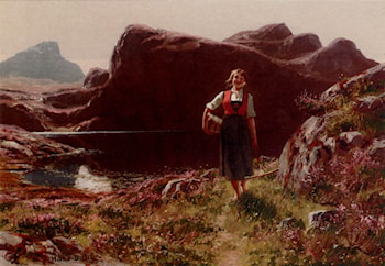 A Girl On A Sunlit Track Before A Fjord by Hans Dahl