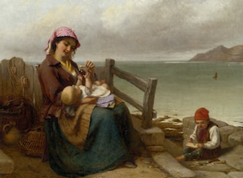 Mother and Child by the Seaside by Thomas Brooks