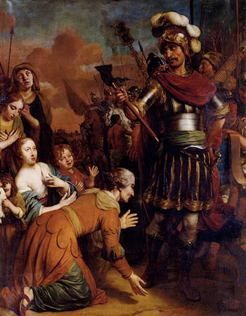 Volumnia Pleading With Her Son Coriolanus To Spare Rome by Gerbrand van den Eeckhout