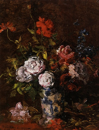 Floral still life in a blue and white porcelain vase by Karl Pierre Daubigny