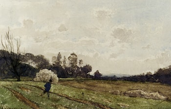 A Farmer Crossing a Field by Henri-Joseph Harpignies
