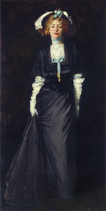 Jessica Penn in Black with White Plumes by Robert Henri