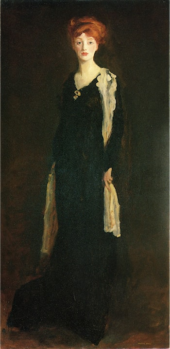 O in Black with Scarf by Robert Henri