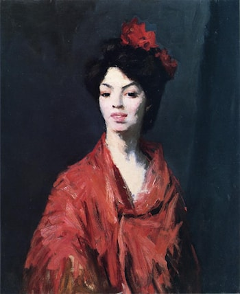 Spanish Woman in a Red Shawl by Robert Henri