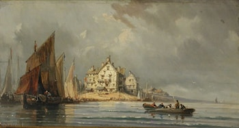 Coastal Landscape with Boats and Constructions by Eugene Isabey