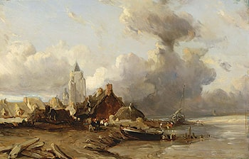 A Village by the Sea by Eugene Isabey
