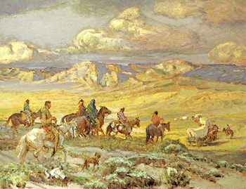 Friendly Indians Watching A Wagon Train by Oscar E. Berninghaus