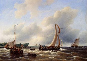 Sailing Vessels On The Zuiderzee by Petrus Jan Schotel