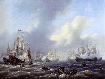 The Battle Of Kamperduin by Petrus Jan Schotel