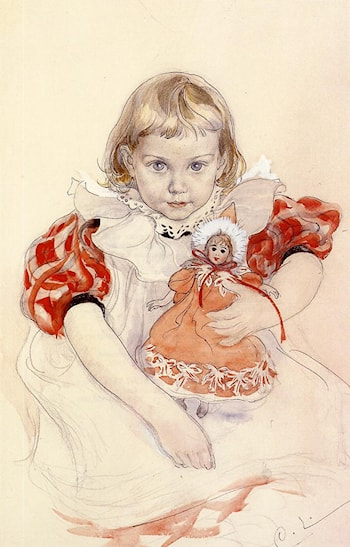 A Young Girl with a Doll by Carl Larsson