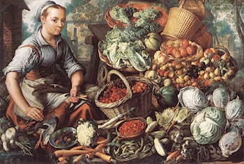 Market Woman with Fruit, Vegetables and Poultry by Joachim Beuckelaer