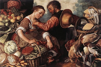 Woman Selling Vegetables by Joachim Beuckelaer