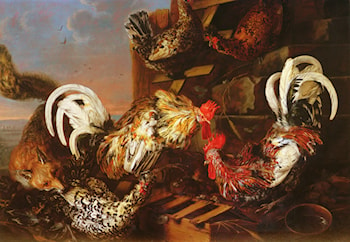 A Farmyard Scene with a Fox Attacking Bantams by Christian Luycks