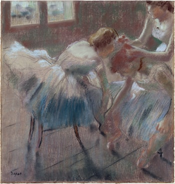 Three Dancers Preparing for Class  by Edgar Degas