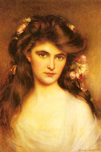 A Young Beauty with Flowers in her Hair by Albert Lynch