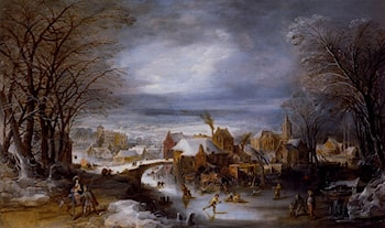 A Winter Landscape With The Flight Into Egypt by Joos De Momper