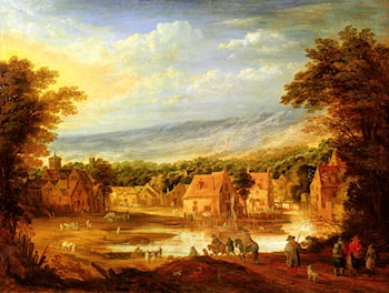 An extensive river landscape with travellers approaching a village by Joos De Momper