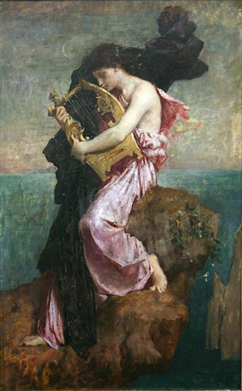 Sapho embrassant sa lyre by Jules-Elie Delaunay
