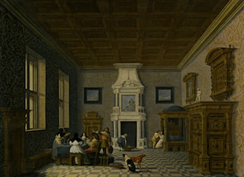 A Palace Interior with Cavaliers Cavorting with Nuns by Dirck van Delen