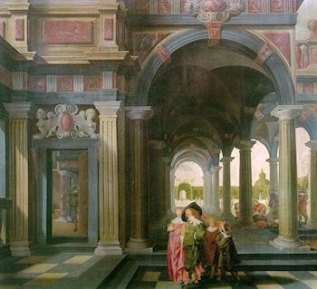 Palace Courtyard with Figures by Dirck van Delen