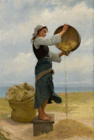 Woman Sifting by Francois Alfred Delobbe