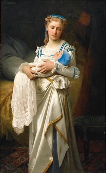 Young Mother with Her Child by Francois Alfred Delobbe
